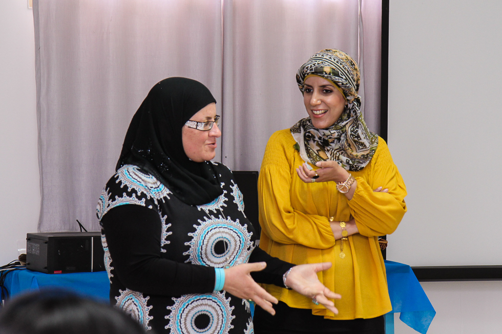 Lina Alatawna and Ghadir Hani giving presentations at Project Wadi Attir