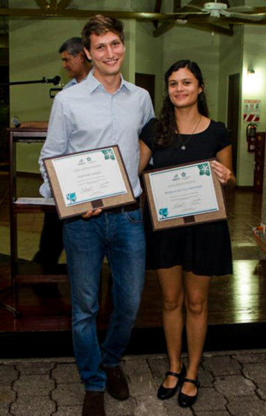 Sustainability Prize at EARTH University 2018 prizewinners Mariana da Cruz Albertazzi and Raphael Loubert