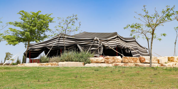 The permanent, onsite Bedouin hospitality tent at Project Wadi Attir