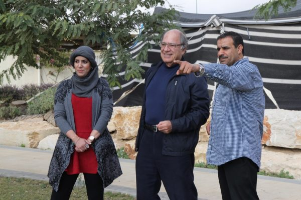 From left: Lina Alatawna with Michael Ben-Eli, founder of The Sustainability Laboratory and a founding member of Project Wadi Attir, and Mohammed Alnabary, founding member of Project Wadi Attir